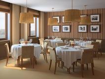 Binnenland van restaurant. Royalty-vrije Stock Afbeeldingen