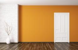 Binnenland van ruimte met deur het 3d teruggeven Stock Foto