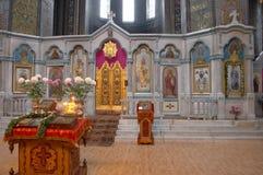 Binnenland van Russische orthodoxe kathedraal Stock Afbeeldingen