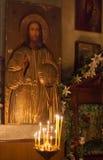 Binnenland van Russische orthodoxe kerk. Royalty-vrije Stock Afbeeldingen