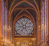 Binnenland van sainte-Chapelle, Parijs, Frankrijk Royalty-vrije Stock Afbeeldingen
