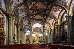 Binnenland van San Juan Bautista Parish in Coyoacan, Mexico royalty-vrije stock foto's