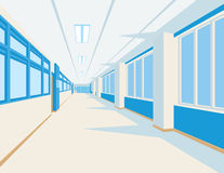 Binnenland van schoolzaal in vlakke stijl Vectorillustratie van universiteit of hogeschool gang met vensters Stock Fotografie