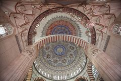 Binnenland van Selimiye-Moskee, Edirne royalty-vrije stock foto's
