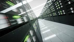 Binnenland van serverruimte in datacenter het 3d teruggeven Stock Afbeelding