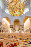 Binnenland van Sheikh Zayed Grand Mosque in Abu Dhabi Royalty-vrije Stock Foto