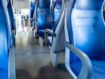 binnenland van spoorwegpersonenauto in Italië stock afbeeldingen