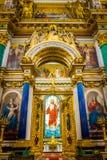 Binnenland van St Isaac Kathedraal in Heilige Petersburg, Rusland royalty-vrije stock foto's