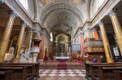 Binnenland van St John basiliek, Eger, Hongarije stock afbeelding
