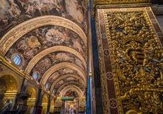 Binnenland van St John ` s Co-Kathedraal, Valletta, Malta stock fotografie