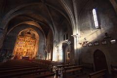 Binnenland van St Maria Church in Olite royalty-vrije stock afbeelding