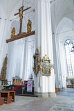Binnenland van St. Mary Basiliek in Gdansk Royalty-vrije Stock Foto's