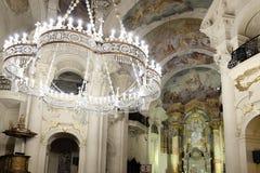 Binnenland van St Nicholas Church in Praag Royalty-vrije Stock Afbeeldingen