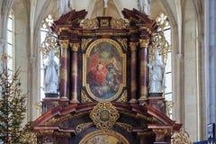 Binnenland van St Nicholas Church Znojmo, Tsjechische Republiek, Europa stock fotografie