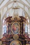 Binnenland van St Nicholas Church Znojmo, Tsjechische Republiek, Europa stock afbeelding