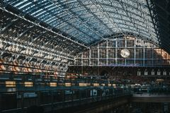 Binnenland van St Pancras Internationale Post, Londen, het UK Royalty-vrije Stock Afbeelding