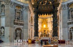 Binnenland van St Peter Basiliek in Rome Royalty-vrije Stock Afbeelding