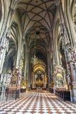 Binnenland van St Stephen ` s Kathedraal, Wenen, Oostenrijk royalty-vrije stock afbeelding
