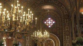 Binnenland van synagoge stock video