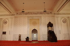 Binnenland van Tengku Ampuan Jemaah Mosque in Selangor, Maleisië Stock Fotografie