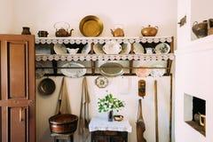 Binnenland van Witrussisch Huis van vroeg 20ste eeuw in Wit-Rusland Stock Foto