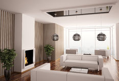 Binnenland van woonkamer met 3d open haard Stock Afbeelding