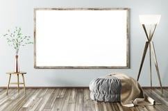 Binnenland van woonkamer met affiche het 3d teruggeven vector illustratie