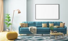 Binnenland van woonkamer met bank en affiche het 3d teruggeven royalty-vrije illustratie