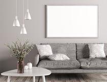 Binnenland van woonkamer met bank en spot op affiche 3d renderin royalty-vrije illustratie