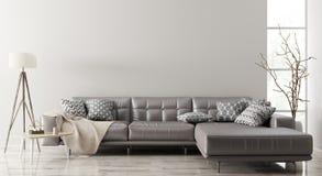 Binnenland van woonkamer met bank het 3d teruggeven royalty-vrije illustratie