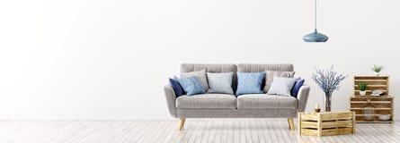Binnenland van woonkamer met bankpanorama het 3d teruggeven royalty-vrije illustratie