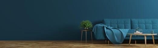 Binnenland van woonkamer met blauwe bank, houten koffietafel, vaas met takpanorama het 3d teruggeven stock fotografie