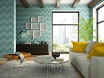 Binnenland van woonkamer met het blauwe behang 3D teruggeven Stock Foto's