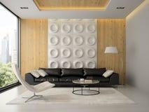 Binnenland van woonkamer met het gele leunstoel 3D teruggeven Stock Fotografie