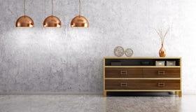 Binnenland van woonkamer met houten opmaker en lampen 3d renderi vector illustratie