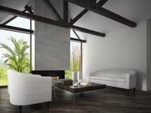 Binnenland van woonkamer met leunstoelen en open haard 3D renderi Stock Afbeeldingen