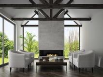 Binnenland van woonkamer met leunstoelen en open haard 3D renderi Royalty-vrije Stock Foto's