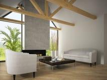 Binnenland van woonkamer met leunstoelen en open haard 3D renderi Stock Afbeelding