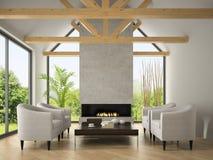 Binnenland van woonkamer met leunstoelen en open haard 3D renderi Stock Foto