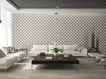 Binnenland van woonkamer met modieus behang het 3D teruggeven Stock Foto