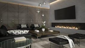 Binnenland van woonkamer met modieuze open haard 3D teruggevende 3 Royalty-vrije Stock Foto's