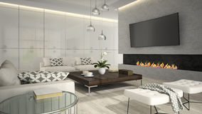 Binnenland van woonkamer met modieuze open haard 3D teruggevende 2 Royalty-vrije Stock Afbeeldingen