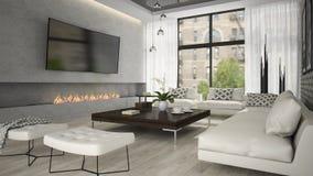 Binnenland van woonkamer met modieuze open haard het 3D teruggeven Royalty-vrije Stock Afbeeldingen