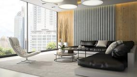 Binnenland van woonkamer met witte leunstoel 3D teruggevende 2 Stock Afbeeldingen