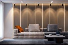 Binnenland van woonkamer in moderne stijl, het 3D Teruggeven Royalty-vrije Stock Fotografie