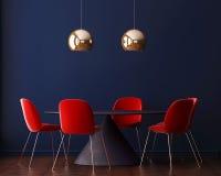Binnenlands art deco met een lijst en een lamp het 3D Teruggeven, 3D Illustratie Royalty-vrije Stock Foto