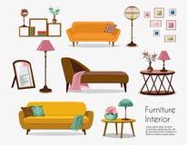 Binnenlands Bankreeksen en huistoebehoren Meubilairontwerp royalty-vrije illustratie