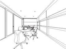 Binnenlands de tekeningsperspectief van de overzichtsschets van een ruimte Stock Afbeelding