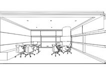 Binnenlands de tekeningsperspectief van de overzichtsschets van een ruimte Royalty-vrije Stock Afbeeldingen