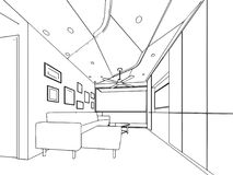 Binnenlands de tekeningsperspectief van de overzichtsschets van een ruimte Royalty-vrije Stock Fotografie